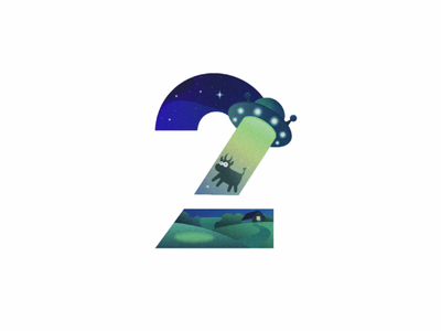 2 for 36 Days of Type ufo cow scene farm stars night cow ufo typogaphy vector vector illustration illustration numbers 36daysoftype 2