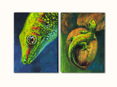 Lizards illustration green canvas acrylics acrylicpainting painting lizard gecko