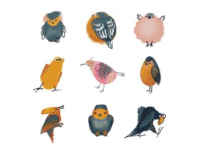 Birds styles procreate digital painting digitalart bird illustration birds bird