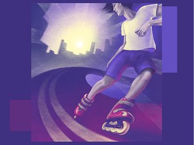 Rollerskating procreate illustration digital painting digital illustration digitalart purple city boy rollerskate roller