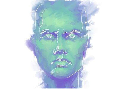 Face man face purple procreate digital illustration digitalart portrait