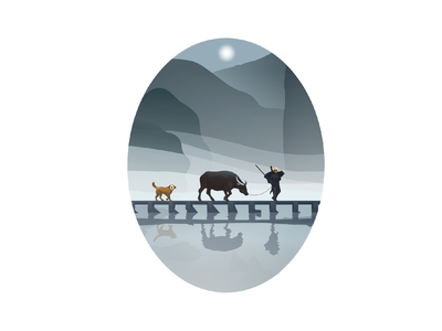 Bull illustration illustrator vector illustration vector art vector bridge landscape mountain fog man dog bull