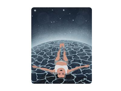 Floating vector vector illustration digital painting digital art procreate digital illustration digitalart illustration stars water girl space floating