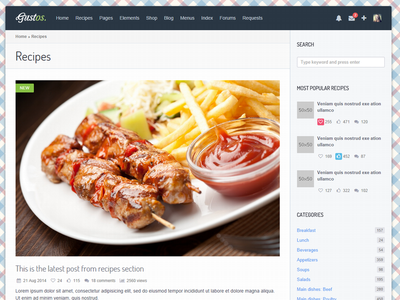 Gustos - Template layout food recipe. template