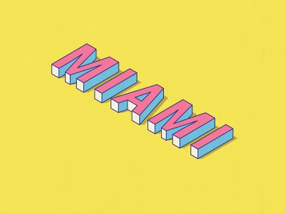 Miami Isometric Text miami vice graphic design logo art vector typography illustrator flat minimal design