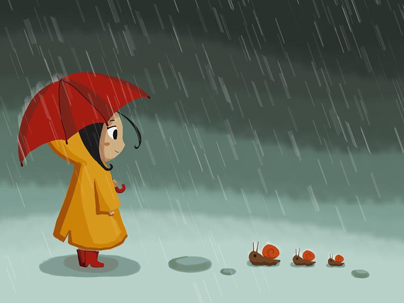 Raining Girl By Xiao Wei Dribbble