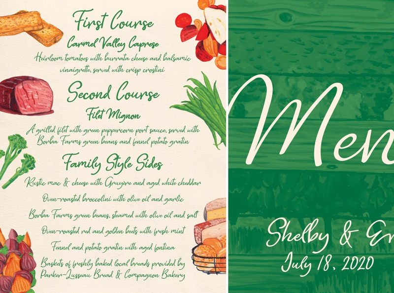 Wedding Day Dinner Menu print gouache wedding menu painting design illustration