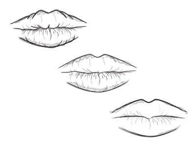 Lips illustration blackandwhite draw lips vectorial illustrator drawing