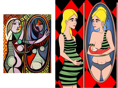 Draw in your style (Girl in the mirror by Pablo Picasso) digital illustration digital painting digital art comic book art comic girl in the mirror girl illustration girl picasso pablo picasso illustraion