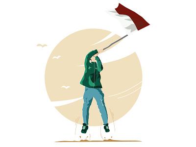 Proud of nationality illustrator website vector art logo illustration flat design branding animation