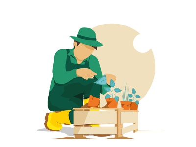 Let's do gardening logo web illustrator vector simple design illustration flat design branding art animation