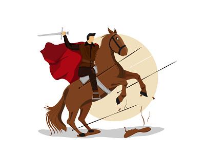 The prince and his war horse minimal simple design vector illustrator logo illustration flat design art animation