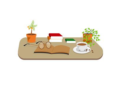 Books and coffee in leisure time web minimal simple design vector illustrator illustration flat design animation art