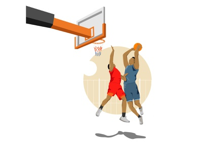 Playing basketball in the afternoon web icon character simple design vector illustration flat design art animation