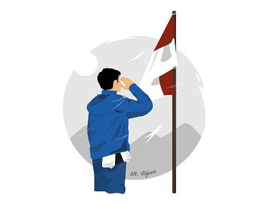 Mountain tops and flags art website simple design animation logo mountain vector indonesia designer flat illustration flag