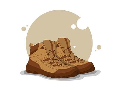 Mountaineering boots illustrator boots character web mountain simple design vector illustration flat design art