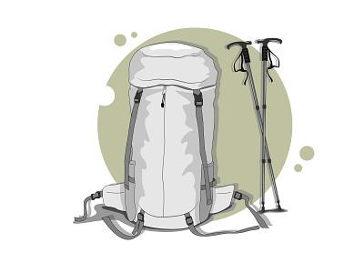 Carrier bag and trekking pole character mountain website simple design animation vector illustration flat design art