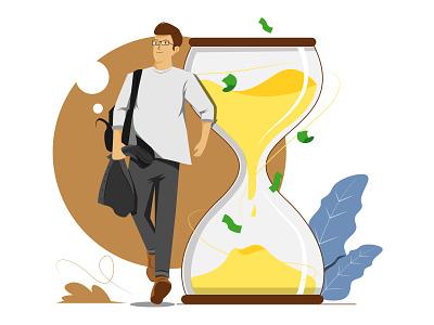 Time is money ilustration artwork character simple design website work daily design vector art illustration flat time