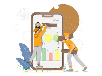 Good teamwork makes perfect artist website daily design character artwork vector illustration flat art