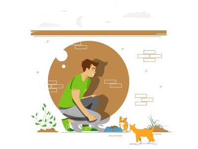 The man feeds his cat cats simple character character website artwork illustrator simple design vector illustration flat art