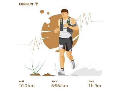 Runner analysis application healthy lifestyle healthy workout sport sports design running app running man staysafe workfromhome artwork character website simple design vector illustration flat art