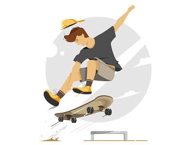 Skateboarding clean design sports branding sport skate skateboard branding character illustrator simple design illustration flat art