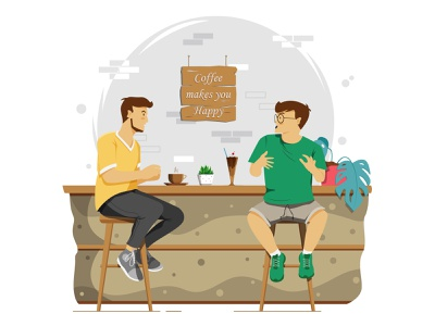 Telling stories at the cafe drink coffee coffee shop coffee cafe telling stories web artwork character illustrator simple design vector illustration flat art