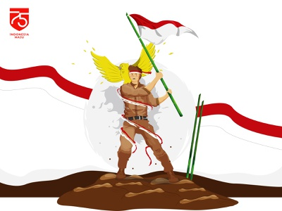 Indonesia Independence Day artwork character animation vector illustration flat art ilustration red and white flag 75th indonesia independence day