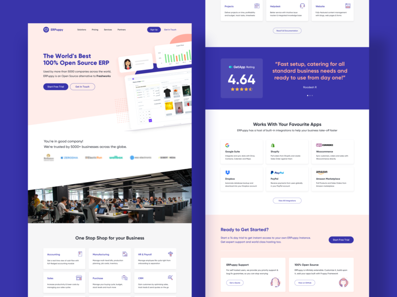 Landing Page for ERP Tool typography fonts web mobile ui ux ui branding vector ux technology erp website tool rohit mondal india hyderabad muzli instagram facebook landing page design landing page concept internet shape color gradient freebie free download giveaway color gradient neat clean ui business template geometric