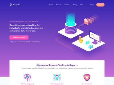 AI Powered Expense Tracking & Reports Landing Page reports graphs money charts rohit mondal rajat mehra ramotion norde mixpanel onboarding future gradient mobile technology web mobile app development company machine learning ai free freebie download