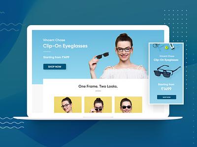 Landing Page - ClipOns | Eyeglasses | Sunglasses website design desktop mobile isometric patterns mobile web ipad tablet rohit mondal design bangalore lenskart warby parker fashion model eyewear