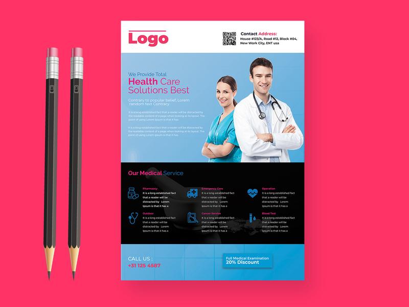 Medical Flyer medical hospital branding brochure design company profile doctor print ready logodesign illustrator print medical logo medical design flyer design flyer