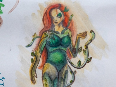 Cyberpunk Poison Ivy watercolor illustration