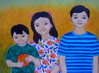 My Nephews and Niece illustration oil pastels