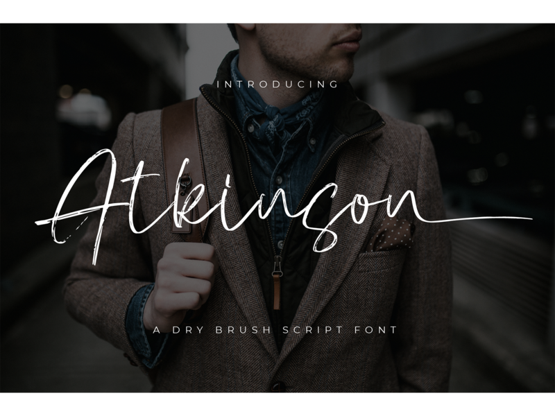 Atkinson Font signature name card logotype invitation hand drawn brush branding script fonts font atkinson