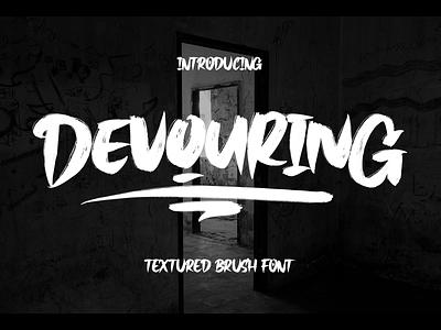 Devouring Font logotype branding display font brush devouring