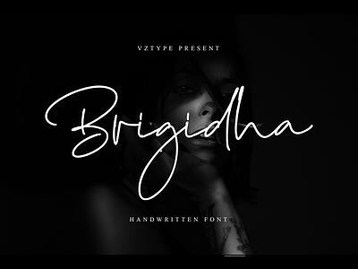 Brigidha Font handwritten logotype branding script font signature brigidha