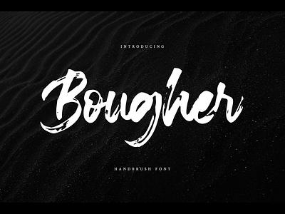 Bougher Font typeface handdrawn webfont logotype branding script brush bougher
