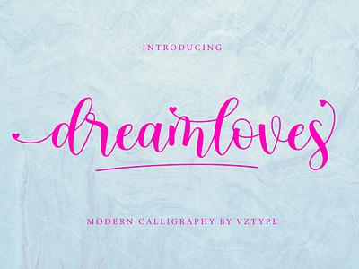 Dreamloves Font typeface handdrawn webfont logotype branding script calligraphy modern dreamloves