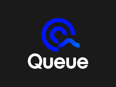 Queue Logo player sound wave sound record q logo design music app app circular icon wordmark logo queue q
