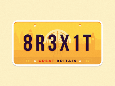 GB license plate ferris wheel london big ben city flat illustration brexit red blue gb great britain yellow weekly warmup challenge license plate