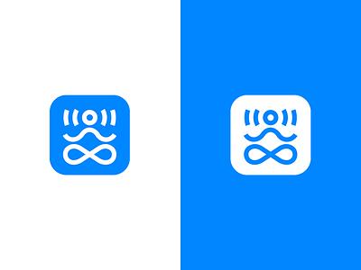 SignalZen logo mark yoga blue app chat buddha icon identity branding logo graphic design