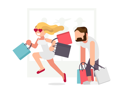 Shopping illustration people characters dress hair woman bags shopping mall colorful minimalist simple illustration