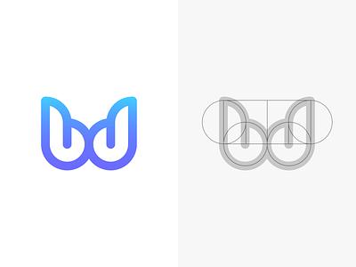 bd wings bd gradient blue minimalist simple mark icon identity branding logo graphic design