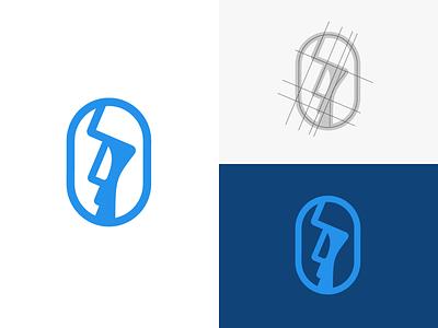 Moai / head / face logo mark head moai cyan blue minimalist simple mark icon identity branding logo graphic design