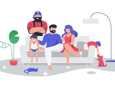 Family sofa illustration