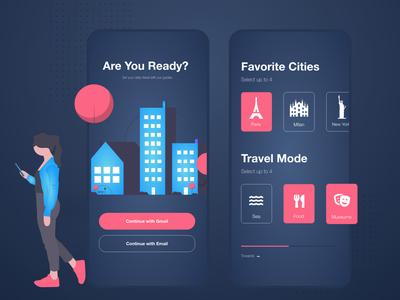 City Guides App - Dark Mode - UI Design ui design clean graphic design creative adobe xd clean design gradient uidesign ui  ux ux ui app design design app