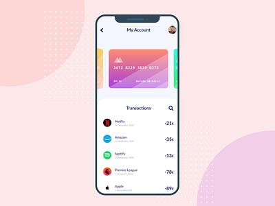 Credit Card App Design design clean graphic design gradient ui creative ui design clean design adobe xd credit card app credit card