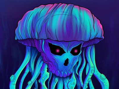 Papa Roach Tribute Poster gig poster rock band neon metal band papa roach band character design anime jelly fish character hard rock album art poster metal illustration 80s rock