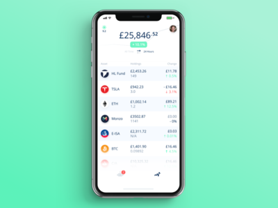 Modern Portfolio cryptocurrency crypto private equity funds shares stocks investments investing finance fintech user interface ui
